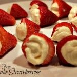 Cheesecake filled strawberries are a super fast, fun way of serving dessert to a lot of people, without needing any utensils or plates! They are perfect
