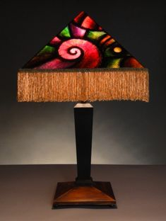 Geometric Deco Table Lamp by Art Donovan. Hand Painted-1990. Whitney Museum, NYC. The Art Institute of Chicago.