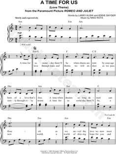A Time for Us (Love Theme) sheet music from Romeo and Juliet (1968)