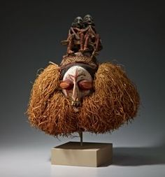 Yaka peoples Creation Place/Dates:	Democratic Republic of the Congo, 20th century Title:	Initiation Mask with Two Figures Medium:	Fiber, wood, canvas, and pigment Credit Line:	 Gift of the