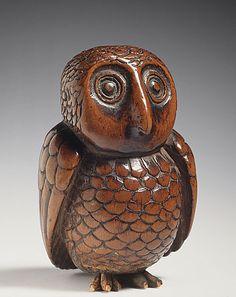 Japan  Owl, late 18th-early 19th century  Netsuke, Wood. LACMA