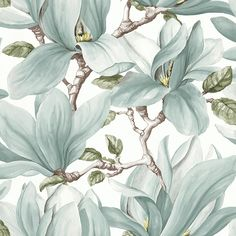 The wallpaper Nature - botanical inspiration - 3521 from Decor Maison is a wallpaper with the dimensions x m. The wallpaper Nature - botanical inspira Magnolia Wallpaper, Botanical Wallpaper, Wallpaper Decor, Modern Wallpaper, Home Wallpaper, Flower Wallpaper, Nature Wallpaper, Molduras Vintage, Scandinavian Wallpaper