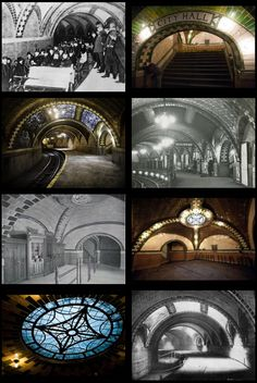 The Long Abandoned City Hall Subway Station in New York | The City Hall station was meant to be the crown jewel in the city's new subway system. It was opened in 1904 as the southern terminal of the Manhattan Main Line (which is now part of the IRT Lexington Avenue Line). Located beneath the public area in front of City Hall, the station has always been considered the most beautiful in the city. | via odditiesoflife/abandonedporn and neil-gaiman