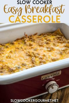 Slow Cooker Easy Breakfast Casserole is the perfect breakfast recipe for the holidays, company or entertaining! Just a few ingredients for an easy delicious brunch! #slowcooker #breakfast #casserole #breakfastcasserole #crockpotbreakfastcasserole