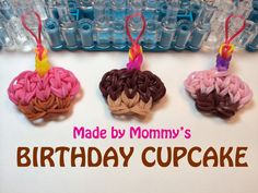 Rainbow Loom Happy Birthday Cupcake Charm tutorial by Made by Mommy