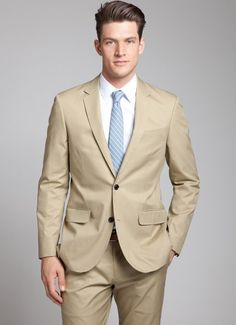 Korean Style Men Long Sleeve One Button Khaki Cotton Suit M/L/XL
