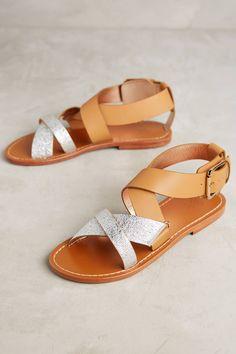 Slide View  1  Sanchita Coelia Crossed Metallic Sandals Metallic Sandals,  Leather Heels, e41cb253fa