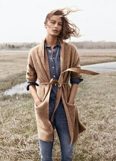 Love the chambray shirt under the long sweater Canadian Tuxedos with Camel Accents are way in now...