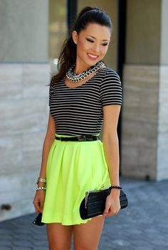 I just love how the lime mini skirt adds such adorable flare to the entire outfit!