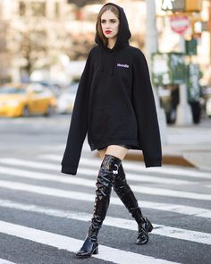 """Loving @chiaraferragnicollection new f/w 2016/2017 boots  Here worn with a @vetements_official maxi hoodie #TheBlondeSaladGoesToFashionWeek…"""