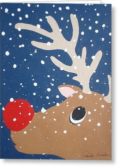 Rudolph The Red Nosed Reindeer Canvas Print by Paula Weber Rudolph The Red Nosed Reindeer Painting by Paula Weber Preschool Christmas, Noel Christmas, Christmas Crafts For Kids, Xmas Crafts, Christmas Projects, Winter Christmas, Christmas Decorations, Christmas Ornaments, Christmas Scenes
