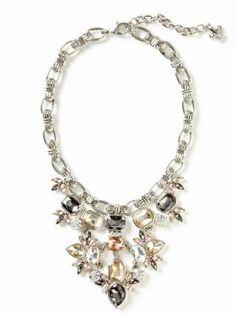 Silver Floral Gem Statement Necklace $98