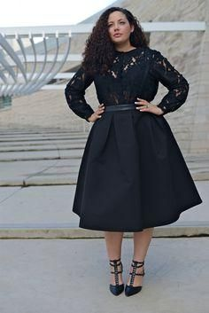We adore the lace top in total black. Very nice! Girl With Curves: Black Out. #plussize fashion