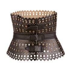Alaia Rare Vintage Lazer Cut Leather Corset   From a collection of rare vintage belts at http://www.1stdibs.com/fashion/accessories/belts/