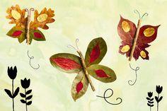 Mit Laub basteln: Blätterschmetterlinge