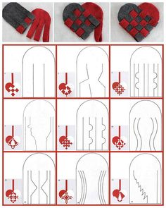 DIY 27 Woven Danish Heart Printables chatbreak here. Top Row Photos: DIY Woven Danish Felt Basket Tutorial from Radmegan here. Christmas Hearts, Christmas Diy, Christmas Decorations, Christmas Ornaments, Valentine Crafts, Holiday Crafts, Fun Crafts, Danish Christmas, Scandinavian Christmas