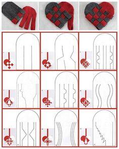 DIY 27 Woven Danish Heart Printables chatbreak here. Top Row Photos: DIY Woven Danish Felt Basket Tutorial from Radmegan here.