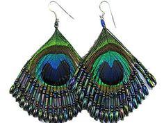 Beaded Peacock Earrings - Teal