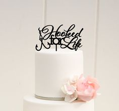 Hooked For Life Wedding Cake Topper .:. Lead Time .:. Welcome to The Pink Owl. We love to allow 3-4 weeks production time for your custom made