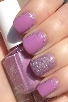 holographic glitter dots over light purple pink creme manicure