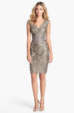 Tadashi Shoji Embellished Metallic Lace Sheath Dress | Nordstrom