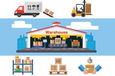 Warehouse flat vector illustration. by TastyVector on @creativemarket