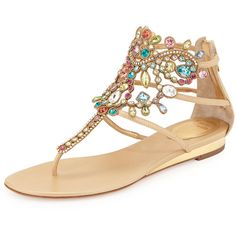 Rene Caovilla Multicolor Crystal Cage Thong Sandal featuring polyvore fashion shoes sandals flats gold wedge sandals crystal sandals swarovski crystal sandals ankle strap sandals wedge heel sandals