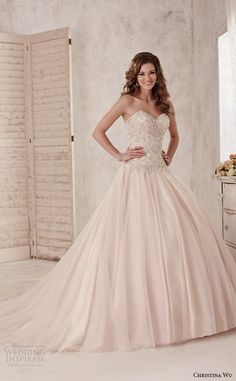 strapless sweetheart neckline embroidered bodice romantic champagne color ball gown dress 15584