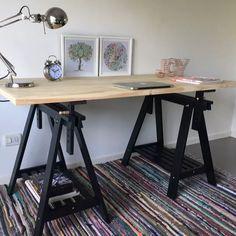 Gerton oddvald table beech black 61x29 1 2 loft - Mesa con caballetes ...