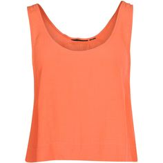 Mink Pink Womens Orange Cropped Vest Top (23 CAD) ❤ liked on Polyvore featuring tops, shirts, crop tops, tank tops, tanks, red tank, loose crop top, loose tank top, loose fitting tank tops and orange crop top