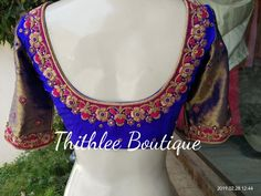 Beautiful royal blue color designer blouse with gold jari sleeves. Blouse with floret lata design hand embroidery gold trhead work. Saree Kuchu Designs, Pattu Saree Blouse Designs, Simple Blouse Designs, Stylish Blouse Design, Fancy Blouse Designs, Bridal Blouse Designs, Blouse Neck Designs, Maggam Work Designs, Bangalore India