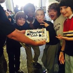 The cast celebrating Caleb's birthday on the set!