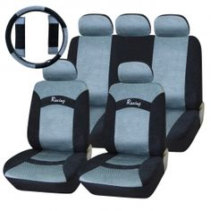 Adeco 12-Piece Soft-Touch Car Vehicle Protective Seat Covers, Universal Fit, Silver/Black