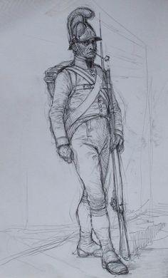 Austrian infantryman from the Napoleonic period (pencil sketch) - Art of Karl Kopinski   ( https://www.facebook.com/pages/Art-of-Karl-Kopinski/382449358500042 )