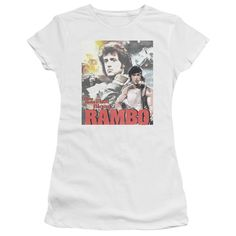 RAMBO:FIRST BLOOD/THEY DREW COLLAGE-S/S JUNIOR SHEER-WHITE