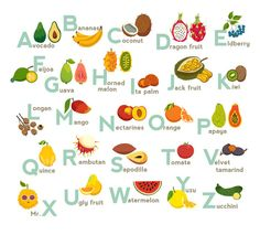 Fruits abc vector, fruit by coffeee-in : Fruits Exotic tropical vegetable alphabet. Isolated vector illustration on white background. Hand Lettering Alphabet, Alphabet Print, Fruit Names, Asian Wall Art, Indoor Activities For Toddlers, Preschool Crafts, Preschool Books, Preschool Ideas, Toddler Crafts