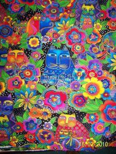 1 YD Laurel Burch Fabric Fanciful Felines Carlotta Garden Cat 2007