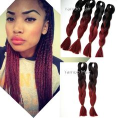 "wholesale Amaze burgundy Ombre African Box Hair Braiding Expression Kanekalon Jumbo Braid Hair Extension 24"""