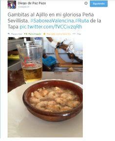 Tweet de Diego de Paz desde #TapasPSevillista #SaboreaValencina