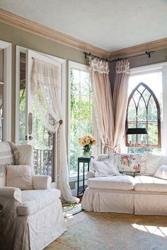 Shabby Couch-and-curtains...love