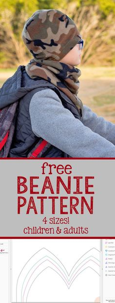 Free Beanie Hat Pattern, in four sizes! This free fleece hat pattern is the perfect sewing project for beginners, stocking stuffers, holiday gifts and using up all your leftover fleece!