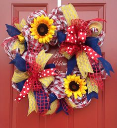 Red and white check mesh wreath with sunflowers and navy accent ribbon, yellow chevron burlap ribbon, red and white polka dot ribbon