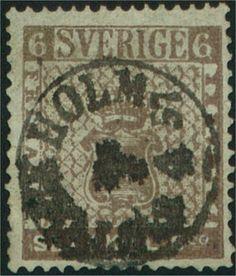 Sweden 6 Skilling Banco 1855 -  Gråbrun (Facit-Nr 3d) Tunt papper Färgstyrka 5-7 Leverans 3 (delleverans 3b) Stämplade från 09.1856 Upplaga 5 000