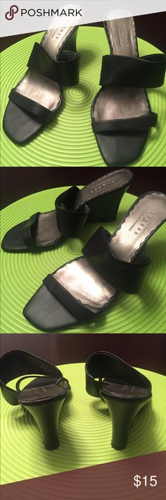 Axcess Wedge Heeled Sandals Black leather wedge heeled two strap slides. Barely any wear on the soles. Axcess Shoes Sandals