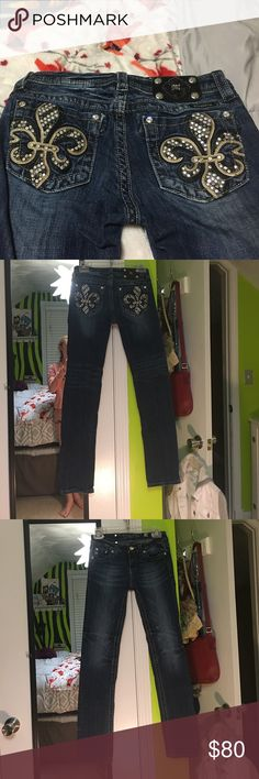 Super cute and hardly worn. I absolutely love these! They bling on these are remarkable!  Show no signs of wear at all. Open to all offers and can hold for u if needed.... willing to trade. Miss Me Bottoms Jeans