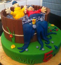 Marsepeintaart buurman en buurman. Desserts, Cake Decorating, Om, Birthday Cake, Treats, Cakes, Tailgate Desserts, Sweet Like Candy, Deserts