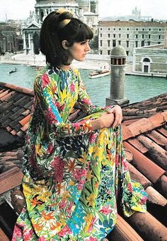 Multi-color floral print maxi dress, Italian Vogue, 1966. Photo by David Bailey in Venice, Italy