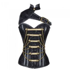 Black Satin Militatry Corset with Chain and PVC Detail