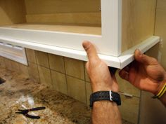 Add a polished look to your kitchen. Install a light rail to your kitchen cabinets to hide under-cabinet lighting. Kitchen Redo, Kitchen And Bath, Kitchen Design, Kitchen Cabinets, Kitchen Ideas, Upper Cabinets, Kitchen Paint, Wood Cabinets, Kitchen Stuff