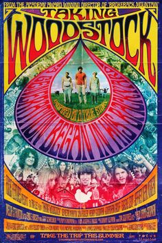 It Take 40 Years to Make a Woodstock Movie With Actual Actors? Taking Woodstock poster.Taking Woodstock poster. 1969 Woodstock, Taking Woodstock, Woodstock Festival, Woodstock Poster, Woodstock Music, Demetri Martin, Posters Vintage, Retro Poster, Custom Posters